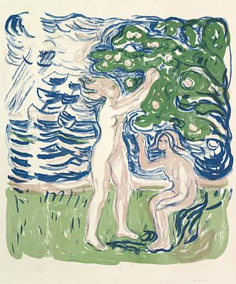 Girls Picking Apples Poster by Edvard Munch