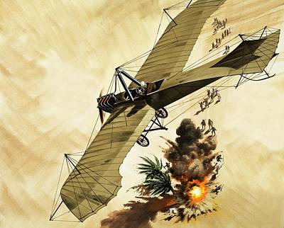 Giulio Gavotti Drops The First Bomb From A Plane Poster by Wilf Hardy