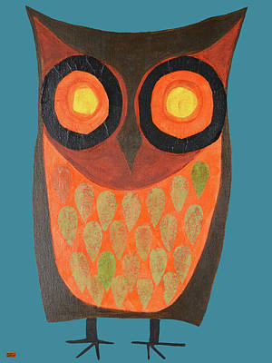 Give A Hoot Orange Owl Poster