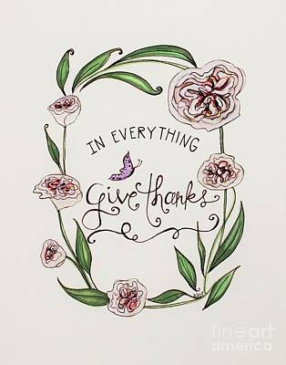 Give Thanks Poster by Elizabeth Robinette Tyndall
