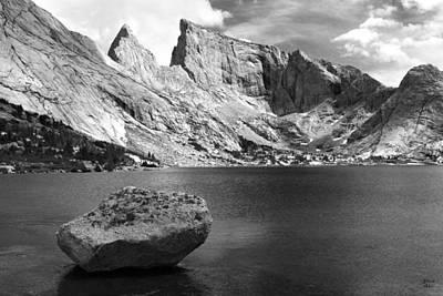Glacial Erratic At Deep Lake Black And White Poster