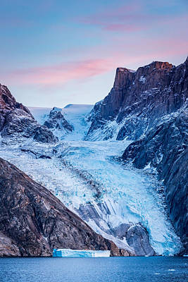 Glacial Sunset - Greenland Glacier Photograph Poster