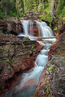 Glacier National Park Waterfall 2 Poster by Andres Leon