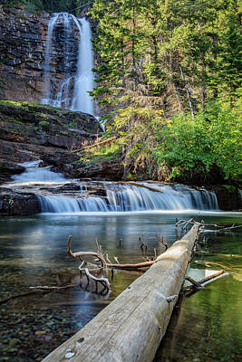 Glacier National Park Waterfall 3 Poster by Andres Leon