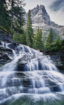 Glacier National Park Waterfall Poster by Donald Schwartz