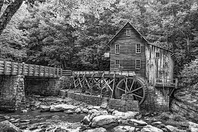 Glade Creek Grist Mill 2 Bw Poster by Steve Harrington