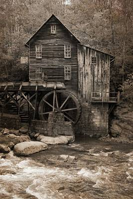 Glade Creek Grist Mill Sepia Poster