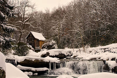 Glade Creek Grist Mill Winter Poster by Chris Flees