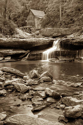 Glade Creek Mill - Babcock State Park - West Virginia - Sepia Poster