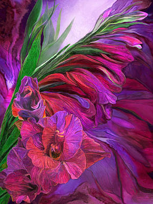 Poster featuring the mixed media Gladiolus In Red by Carol Cavalaris