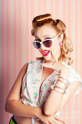 Glamorous Retro Blonde Girl Thinking Fashion Ideas Poster by Jorgo Photography - Wall Art Gallery