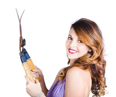 Glamorous Woman Gardening Poster