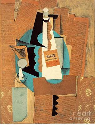 Glass And Bottle Of Suze Poster by Pablo Picasso