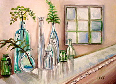 Poster featuring the painting Glass And Ferns by Elizabeth Robinette Tyndall