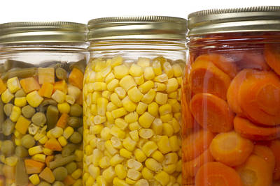 Glass Jars Of Preserved Mixed Vegetables Poster by Donald  Erickson