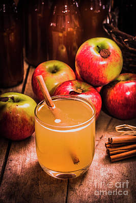Glass Of Fresh Apple Cider Poster