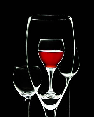 Glass Of Wine In Glass Poster by Tom Mc Nemar