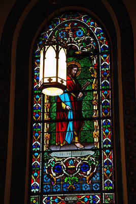 Glass Window Of Saint Philip In The Basilica In Santa Fe  Poster by Susanne Van Hulst