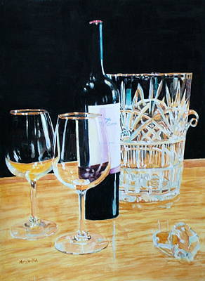 Glass Wood And Light And Wine Poster by Mary Lou Hall