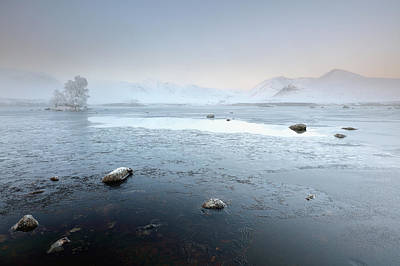 Poster featuring the photograph Glencoe Frozen Misty Winter Sunrise by Grant Glendinning