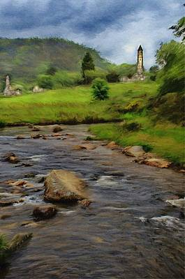 Poster featuring the painting Glendalough In The Distance by Jeff Kolker
