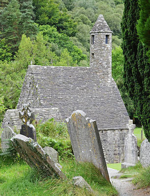 Glendalough Ireland St Kevins Church Behind Headstones Wicklow Mountains Poster
