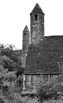 Glendalough Round Towers And St Kevins Kitchen County Wicklow Ireland Black And White Poster
