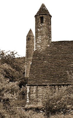 Glendalough Round Towers And St Kevins Kitchen County Wicklow Ireland Sepia Poster