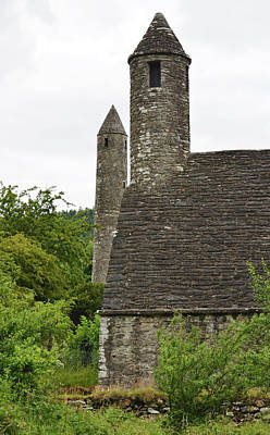 Glendalough Round Towers And St Kevins Kitchen County Wicklow Ireland Poster
