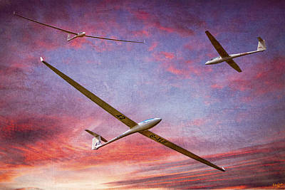 Gliders Over The Devil's Dyke At Sunset Poster