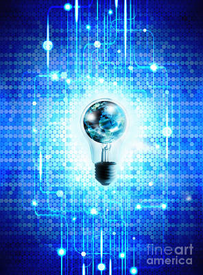 Globe And Light Bulb With Technology Background Poster