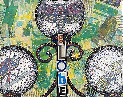 Globe Garden Dragonfly Insect Farmhouse Rustic Farmhouse Recycled Art Painting  Poster