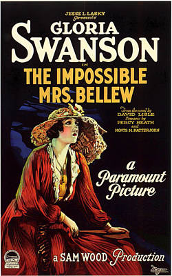 Gloria Swanson In The Impossible Mrs Bellew 1922 Poster by Mountain Dreams