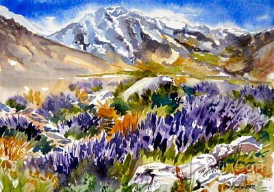 Poster featuring the painting Glorious Lupine by Pat Crowther