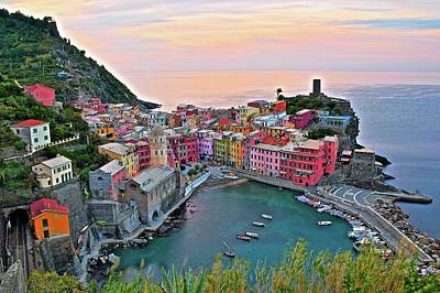 Glorious Sunrise Behind Vernazza Poster by Frozen in Time Fine Art Photography