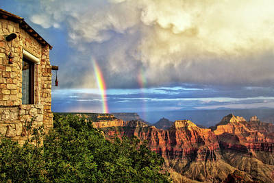 Glorious View From North Rim Lodge Poster by Carolyn Derstine