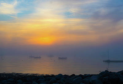 Gloucester Harbor Foggy Sunset Poster