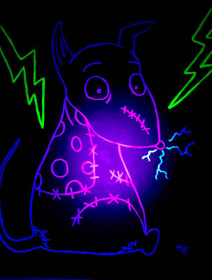 Glow Frankenweenie Sparky Poster by Marisela Mungia