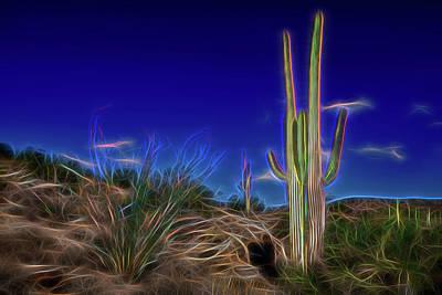 Glowing Cactus Land Poster