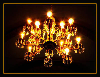 Glowing Chandelier With Border Poster by Carol Groenen