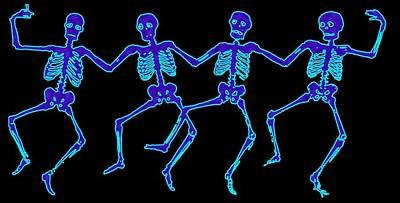 Poster featuring the digital art Glowing Dancing Skeletons by Jennifer Hotai