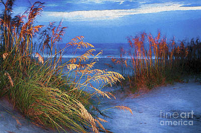 Poster featuring the digital art Glowing Dunes Before Sunrise On The Outer Banks Ap by Dan Carmichael