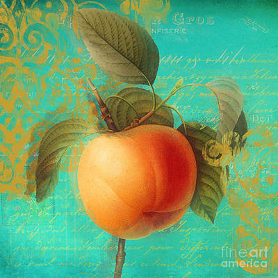 Glowing Fruits Apricot Poster
