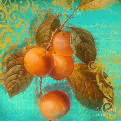 Glowing Fruits Peaches Poster