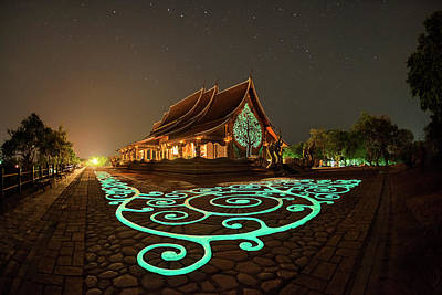Glowing Wat Sirintorn Wararam Temple, Ubon Poster