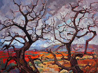 Gnarled Oaks Poster by Erin Hanson