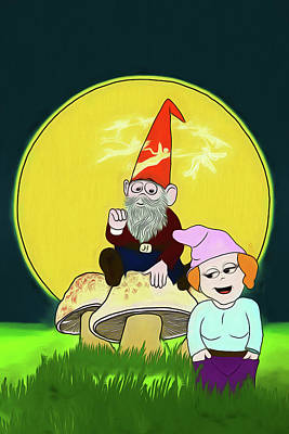 Poster featuring the digital art Gnome Sweet Gnome by John Haldane