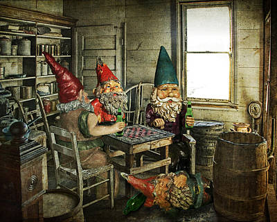 Gnomes Playing Checkers Poster by Randall Nyhof
