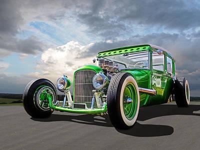 Go Faster Green - Vintage Hot Rod Poster by Gill Billington