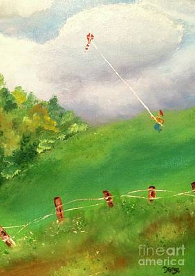 Poster featuring the painting Go Fly A Kite by Denise Tomasura